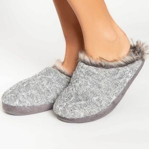 PJ Salvage Faux Trim Cable Slippers